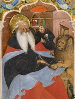 Saint Jerome Extracting a Thorn from a Lion's Paw, cutting from Master of the Murano Gradual, northern Italy, about 1425-50